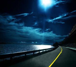 Обои на телефон экран блокировки, дорога, домашний экран, note 3, moonlit road