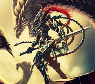 Обои на телефон черные, фантазия, солдат, дракон, арт, yu-gi-oh, fantasy art, dragon, black luster soldier