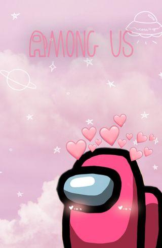 Обои на телефон игровые, розовые, pink amoung us, amoung us