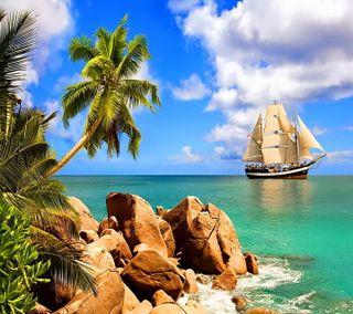 Обои на телефон пальмы, корабли, тропические, море, берег, seychelles