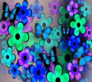Обои на телефон summer collage, синие, цветы, лето, бабочки, цветочные, коллаж