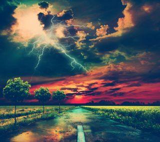 Обои на телефон абстрактные, природа, закат, дорога, молния, облачно
