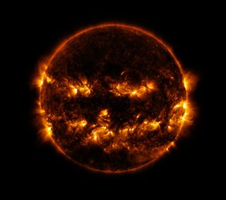 Обои на телефон фонарь, хэллоуин, тыква, страшные, солнце, космос, джек, sun-o-lantern