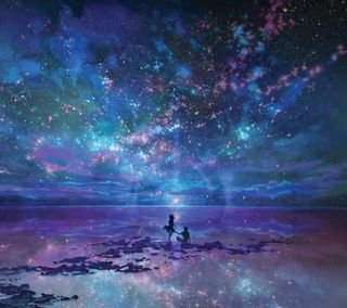 Обои на телефон отражение, океан, небо, звезды