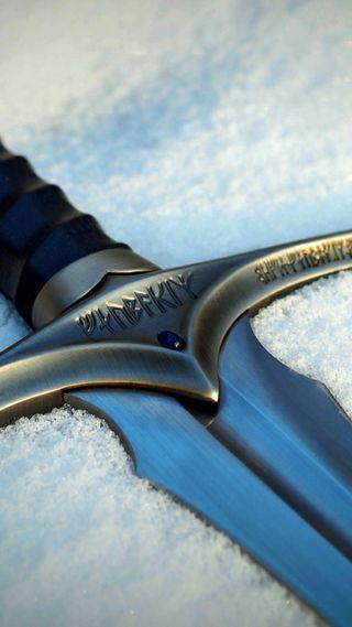 Обои на телефон меч, снег, гэндальф, господин, glamdring, aragorn, anduril