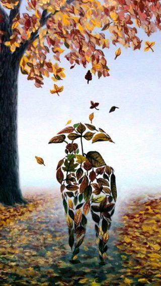 Обои на телефон осень, любовники, листья