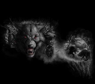 Обои на телефон зверь, хищник, темные, смерть, лес, волк, арт, wolf pack, art