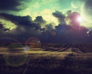 Обои на телефон тень, темные, пшеница, огни, облака, луг, боке, wheat lights