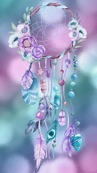 Обои на телефон мечта, цветы, цветные, светящиеся, радуга, перья, ловец снов, дизайн, боке