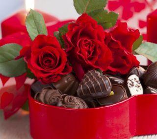 Обои на телефон подарок, свеча, розы, любовь, день рождения, день, love, chocolates