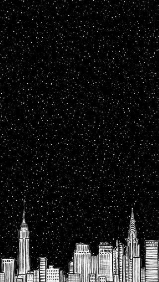 Обои на телефон город, черные, звезды, звезда, белые, stars city