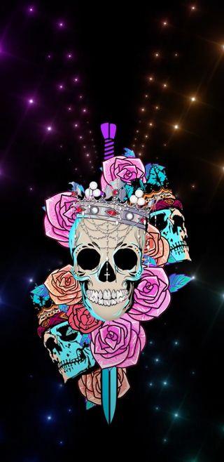 Обои на телефон корона, череп, цветы, огни, skullshow