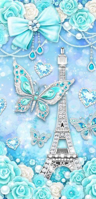 Обои на телефон eiffel tower beauty, синие, прекрасные, сердце, красота, бабочки, симпатичные, девчачие, башня, сверкающие, бриллиант, эйфелева башня, лук