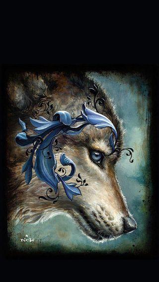 Обои на телефон фантазия, темные, синие, волк, wolfs fantasy