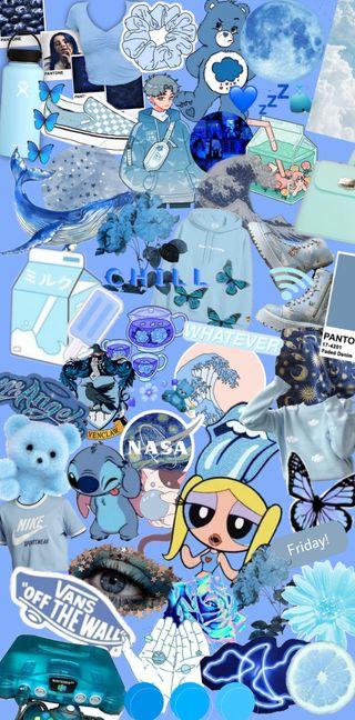 Обои на телефон aestetic, art, blue aestetic collage, blue aesthetic, синие, арт, мультфильмы, эстетические, бренды, приключение, коллаж