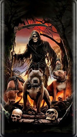 Обои на телефон жнец, череп, фантазия, темные, собаки, смерть, мрачные, магия, крутые, готические