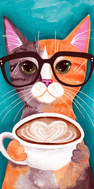 Обои на телефон хипстер, очки, милые, кошки, кофе