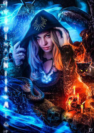 Обои на телефон фотошоп, череп, фантазия, темные, свеча, неоновые, магия, коты, капюшон, девушки, блондинки, dark magic