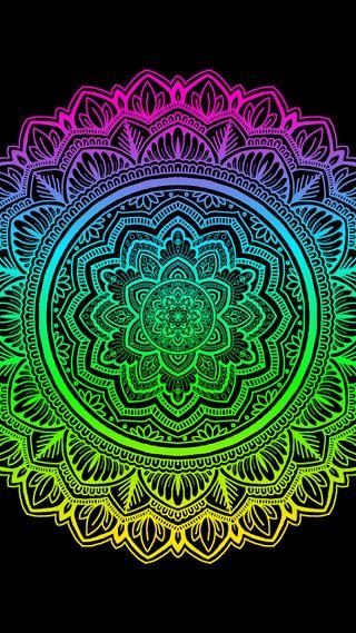 Обои на телефон мандала, яркие, цветы, радуга, неоновые, zentangle