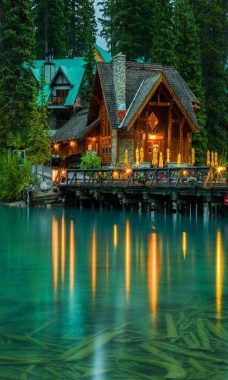 Обои на телефон приятные, природа, озеро, новый, лес, изумруд, естественные, домик, вода, hd