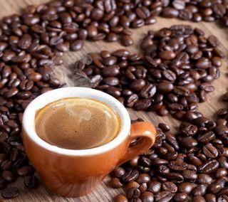 Обои на телефон чашка, утро, сердце, любовь, кофе, зерна, love, cup