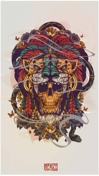 Обои на телефон azteca, craneo, guerrero jaguar, череп, мексика, ягуар
