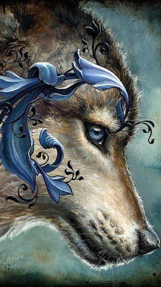 Обои на телефон тату, фантазия, синие, дикие, волк