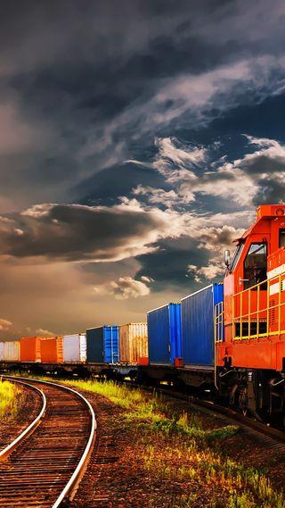 Обои на телефон поезда, облака, небо, красочные, красота, wagons, s8, s7