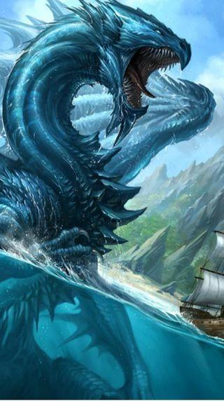 Обои на телефон змея, фантазия, море, корабли, дракон, арт, warer, mythic, i6, dragon, art