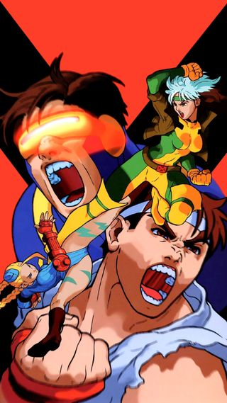 Обои на телефон улица, против, люди, игры, боец, x-men vs street fighter, x-men street fighter, cyclops, 1080x1920