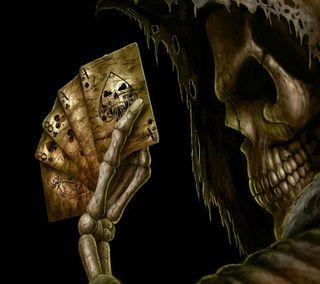 Обои на телефон числа, карты, череп, уникальные, скелет, новый, крутые, playing, aces, 3д, 3d skull cards, 3d