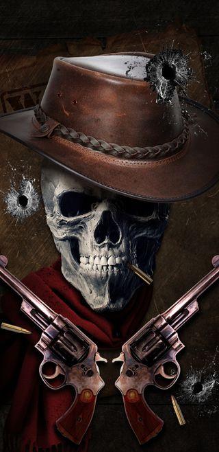 Обои на телефон череп, оружие, дикие, вестерн, wild west, bullet