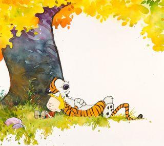 Обои на телефон история, тигр, природа, осень, настроение, мультфильмы, мальчик, картина, calvin and hobbes