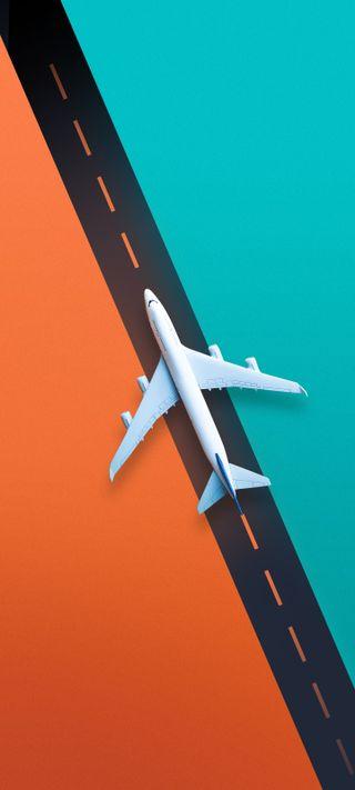 Обои на телефон самолет, панч, отверстие, punch hole wallpaper