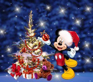 Обои на телефон счастливое, рождество, мультики, микки, маус, зима, 2160x1920px