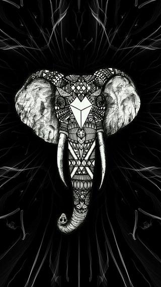 Обои на телефон слон, черные, слоны, арт, art