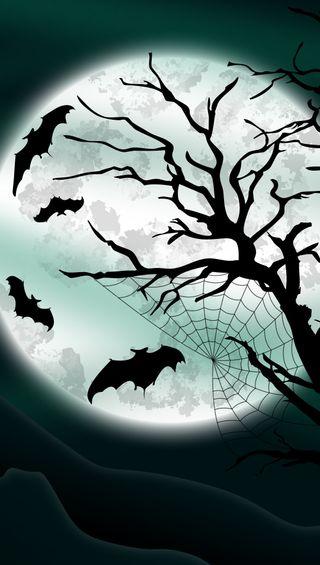 Обои на телефон летучая мышь, хэллоуин, счастливые, луна