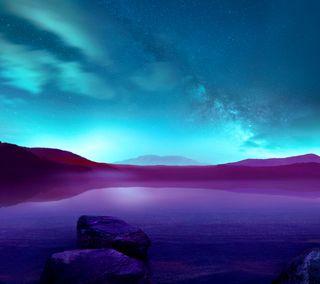 Обои на телефон синие, пейзаж, абстрактные, g3 land abstract bl, g3