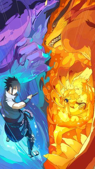Обои на телефон naruto vs sasuke, аниме, наруто, саске, против
