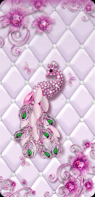Обои на телефон павлин, цветы, симпатичные, розовые, красота, драгоценность, девчачие, блестящие, бабочки, padded
