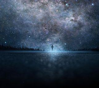 Обои на телефон art, арт, небо, ночь, звезда, люди, силуэт