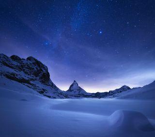 Обои на телефон сяоми, снег, ночь, лед, зима, звезда, горы, xiaomi