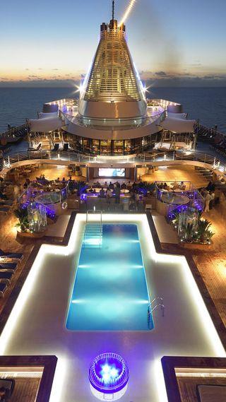 Обои на телефон экран, фильмы, сумерки, корабли, закат, pool, movie screen, cruise ship