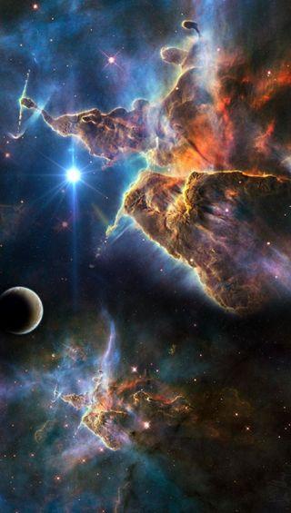 Обои на телефон туманность, планета, облака, космос, ночь, небо, звезды, галактика, galaxy