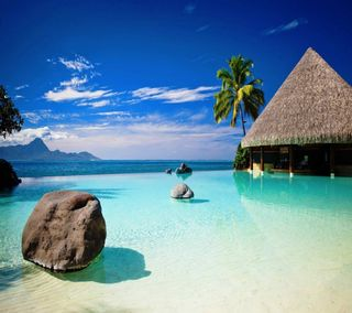 Обои на телефон релакс, синие, пляж, небо, море