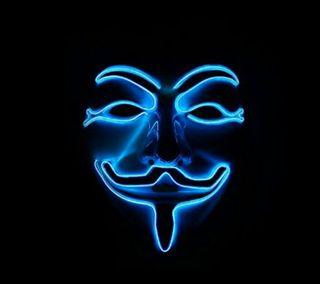 Обои на телефон анонимус, синие, неоновые