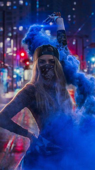 Обои на телефон тату, дым, синие, маска, девушки, blue smoke
