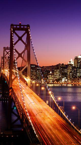 Обои на телефон мост, огни, ночь, новый, город