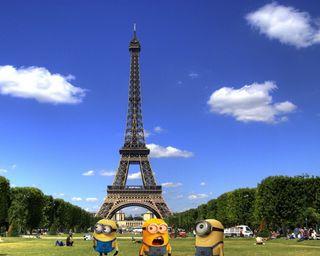 Обои на телефон франция, я, париж, миньоны, забавные, minions in paris, hd