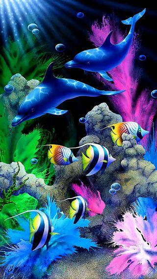 Обои на телефон рыба, растения, пузыри, под, океан, красочные, дельфины, вода, under the ocean
